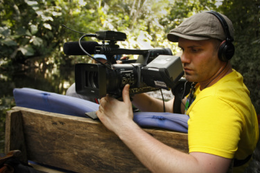 Filming in the Ecuadorian Amazon.